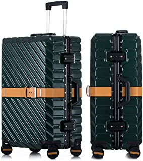 SMLCTY Lightweight Suitcases,hand Luggage Flight Bags,ABS+PC Waterproof and Breathable 4 Round Mute Caster Large Capacity Password Lock Travel Trolley Case (Color : Green, Size : 24 inch)