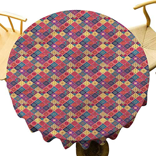 Restaurant Tablecloth Diamond Squares Pattern. Outdoor Picnic Table Diameter 36'