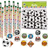 Clear Canyons Soccer Party Favors - 12 Soccer Pencils, 12 Mini Soccer Balls, 36 Soccer Tattoos and Soccer Happy Birthday Sticker (1 Set)