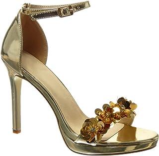 diseño elegante estilo moderno estilo actualizado Amazon.es: Sandalias Tacon Dorada - Zapatos para mujer ...