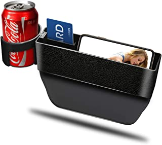 Car Cup Holder Organizer Seat Gap Filler with Leather Cover | Universal Console Side Pocket Seat Catcher Storage Box Cage ...