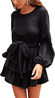 Mini Dresses for Women - Sexy Puff Sleeves Backless Lotus Leaf Ruffle Knitted Sweater Short Dress with Tie Belt
