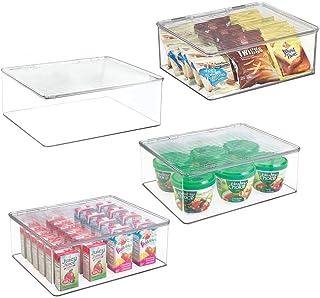 mDesign boite rangement frigo avec couvercle (lot de 4) – boite plastique alimentaire– boite alimentaire pour nourriture d...