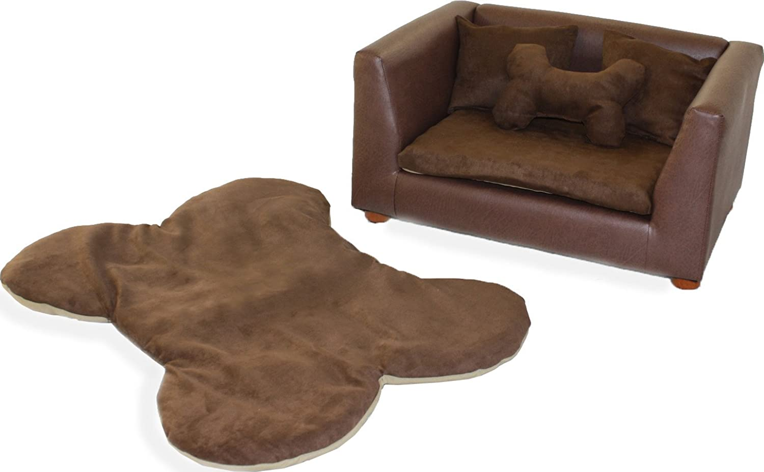 Keet Deluxe Orthopedic Memory Foam Dog Bed Set, Small, Brown