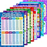Educational Math Posters for Toddlers Kids with Glue Point Dot for Elementary Middle School Classroom, Teach Multiplication Division Addition Subtraction Fractions and More (Various Style,8 Pieces)