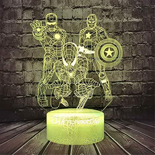 Luce notturna 3D Marvel Capitan America regalo lampada da tavolo laterale LED Decor Light con 16 colori che cambiano, Decor lampada con telecomando, regalo di compleanno per ragazze ragazzi