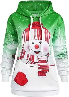 Women Cartoon Snowman Print Sweatshirt Pullover Hoodie Christmas Big Pocket Top