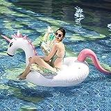 Mysida Inflatable Pool float Balsa Flotante de Piscina de Unicornio Inflable for Adultos y niños Juguete de Paseo con Tumbona de natación con alas de Colores