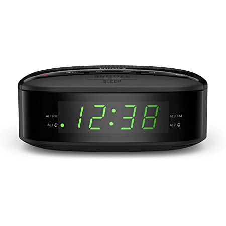 Philips Audio R3205/12 Radio-réveil, Radio FM (Double Alarme, Arrêt programmé, Radio numérique, Forme compacte, Batterie de Secours, Jusqu'à 10 présélection) - Modèle 2020/2021