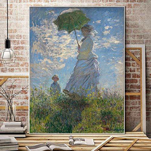 Sanzangtang Monet afbeeldingen van klassieke posters en afdrukken wandafbeeldingen kunst canvas schilderij vrouw woonkamer naar huis met parasol frameloze decoratie