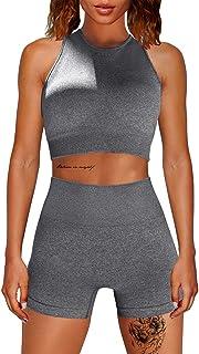 HYZ Workout 2 Piece Outfits Sleeveless Racerback Removable Padded Bra High Waist Sports Shorts