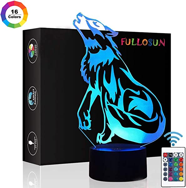 Wolf Gifts 3D Night Light For Kids Optical Illusion Lamp Co Sleeping Remote Controller With 16 Color Changing Ideal Birthday Gifts Toys For Kids Boys Men
