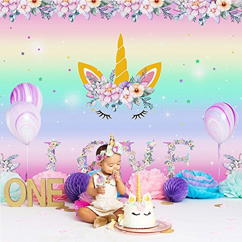 Mehofoto Unicorn Backdrop Rainbow Floral Background for Birthday Party 7x5ft Vinyl Love Unicorn Themed Baby Sower Party Banner Photography Backdrops