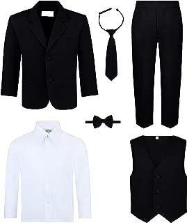 Boy's 6-Piece Suit Set - Includes Suit Jacket, Dress Pants, Matching Vest, White Dress Shirt, Neck Tie & Bow Tie