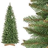 FairyTrees Weihnachtsbaum künstlich Slim, Fichte Natur, grüner Stamm, Material PVC, inkl....