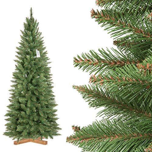 FairyTrees Artificiale Albero di Natale Slim, Abete Rosso Naturale, Tronco Verde, Materiale PVC, incl. Supporto in Legno, 180cm, FT12-180