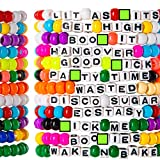 kandi bar Party Hard Rave Bracelets (12-Pack) | handmade PLUR accessory for EDM music festival outfits | wear stylish colors & authentic phrases for Women, Men, & nb | every pack is unique| EXPLICIT
