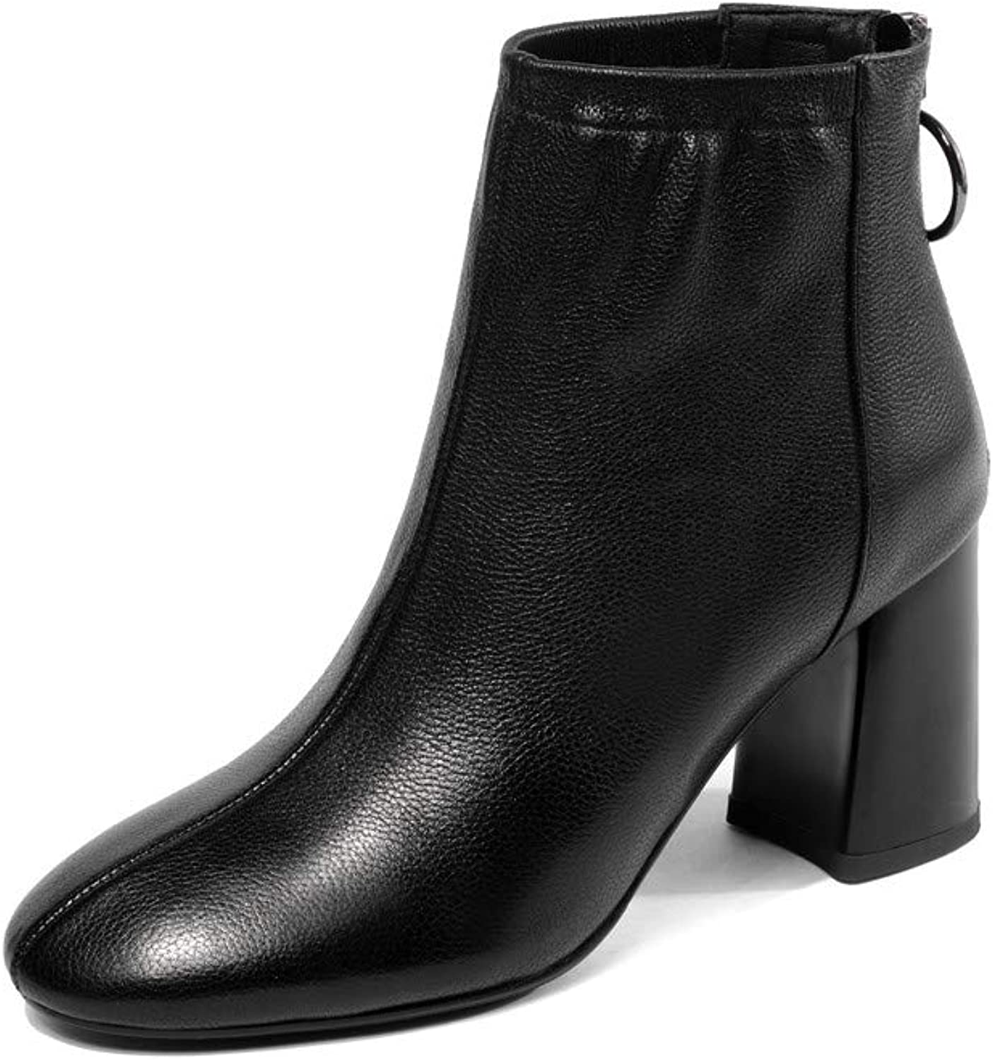 Nine Seven Genuine Leather Women's Squre Toe Mid Chunky Heel Fashion Back Zip Handmade Sexy Women Retro Ankle Boots with Buckle