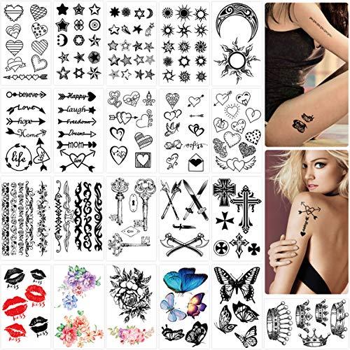 Frcolor Temporär Tätowierung, Wasserdicht Schwarz Temporäre Körperkunst Aufkleber Arm Handhals Handgelenk Tattoos für männer Frauen (Kleine Blumen Tattoos)