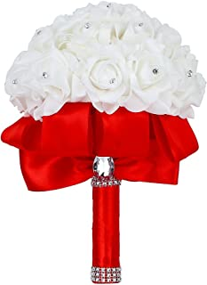 Febou Wedding Bouquet, Big Size Red Bridesmaid Bouquet Bridal Bouquet with Crystals Soft Ribbons, Artificial Rose Flowers for Wedding, Party and Church (Red Big Size)