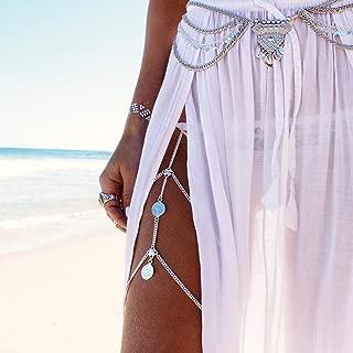 Unicra Bohemia Sexy Body Chain Bikini Waist Charm Leg Chain Silver Coins Tassel Belly for Women