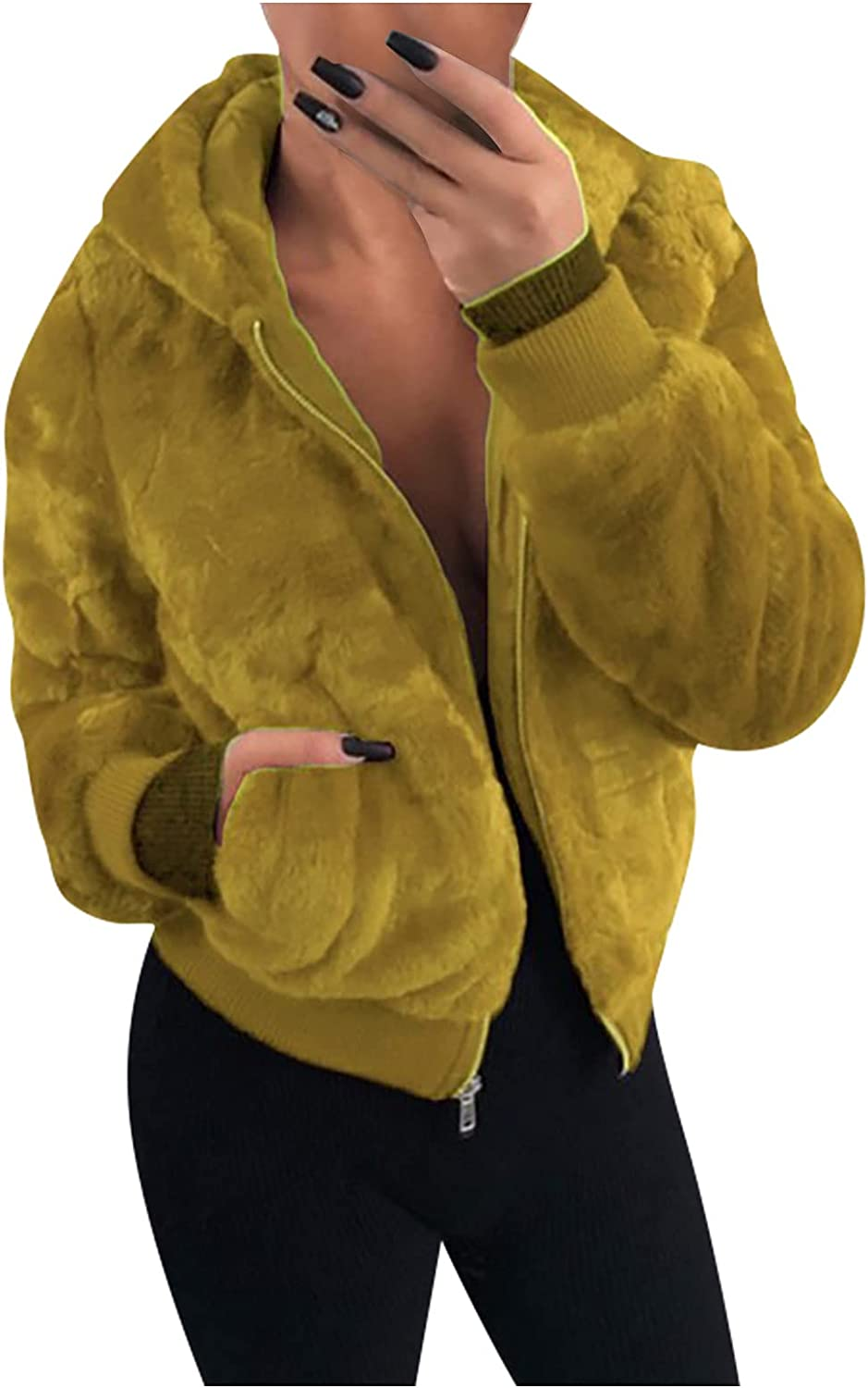 Winter Coats Women Zip up Fleece Long Sleeve Pockets Hooded Cropped Solid Color Plush Warm Jackets Tops Open Front Cardigan