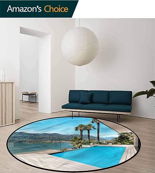 橄榄球假日小圆地毯露台与游泳池木制甲板圆形地毯客厅直径 47