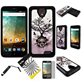 For 2nd Gen ZTE Maven 2 Z831 / ZTE Sonata 3 / ZTE Prestige N9132 /ZTE Avid Plus Z828 /ITUFFY 3items: Screen Protector+Stylus Pen+Dual Layer Impact Resistance Hybrid Armor Case (Silver Grey Skull Tree)