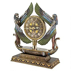 Netsc19 Egyptian Style Revival Goddess Isis on Barge Sculptural Mantel Clock