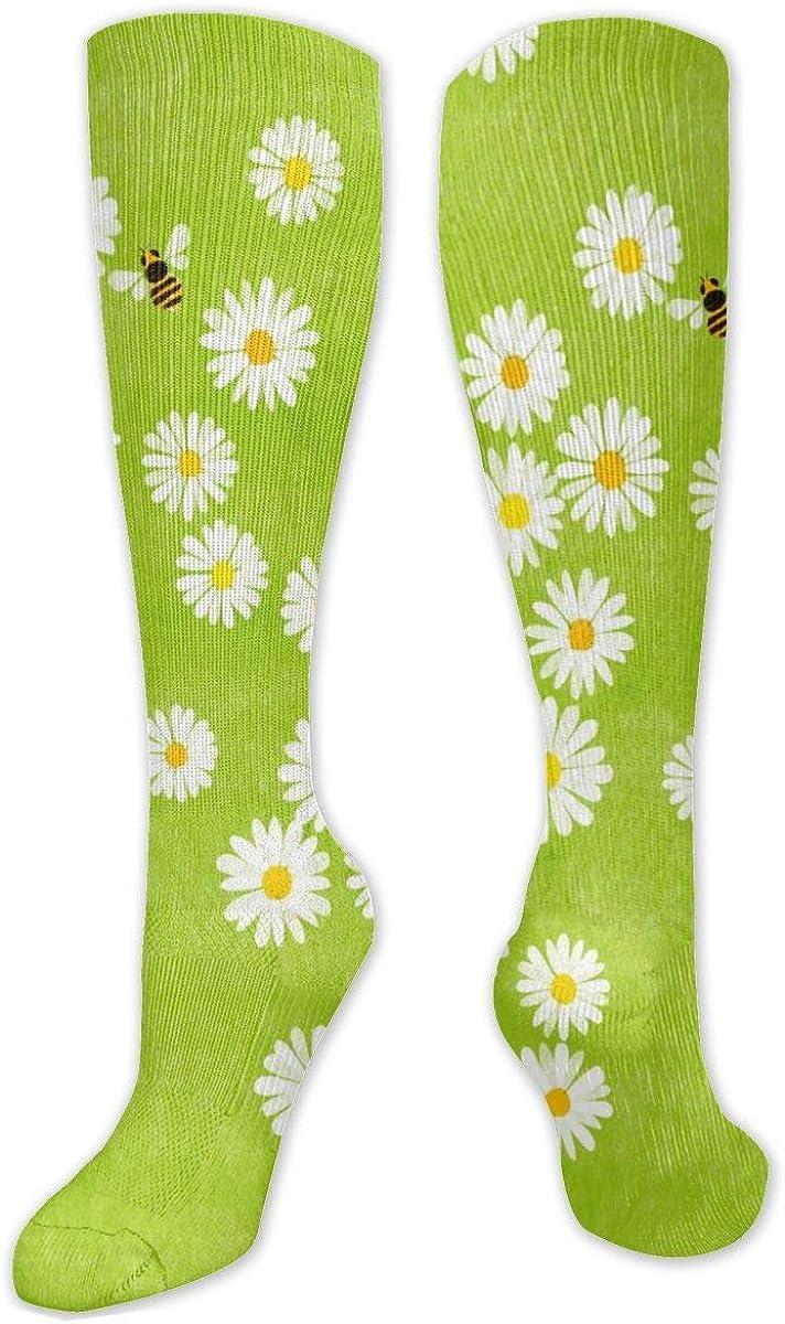Daisy Bee Print Knee High Socks Leg Warmer Dresses Long Boot Stockings For Womens Cosplay Daily Wear