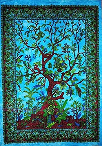 Tie Dye Psychedelic Celestial tree tapestry Bohemian Tapestry Wall Hanging Dorm Decor Boho Tapestry /Hippie Hippy Tapestry Beach Coverlet Curtain (Twin (54 X 84 inches approx, Orange Multi Color)