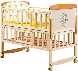 Baby Bassinet 2-Tier Adjustable Height Multifunction Solid Wood Crib Without Paint Variable Desk Cradle Toddler Bed Newborn Baby Lounger Portable Color Natural Size 104 60 87cm