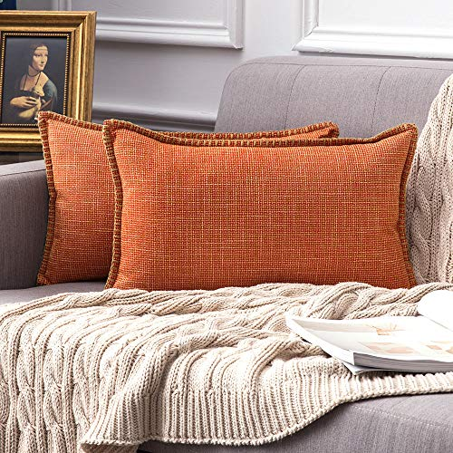 MIULEE Hemming Cross Shape Faux Linen Square Throw Pillow Case Cushion Cover Home for Sofa Chair Couch/Bedroom Decorative Pillowcase 30x50cm Set of 2 Orange