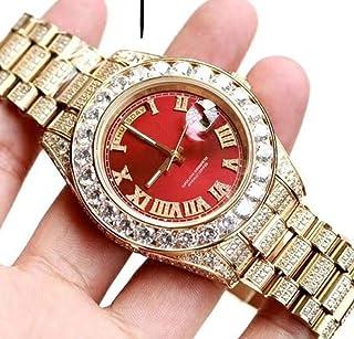 HNOLVH - Nuevos Hombres Daydate Dial Rojo Oro Amarillo Diamantes Grandes Bisel Mecánico Automático Reloj De Zafiro De Acero Inoxidable