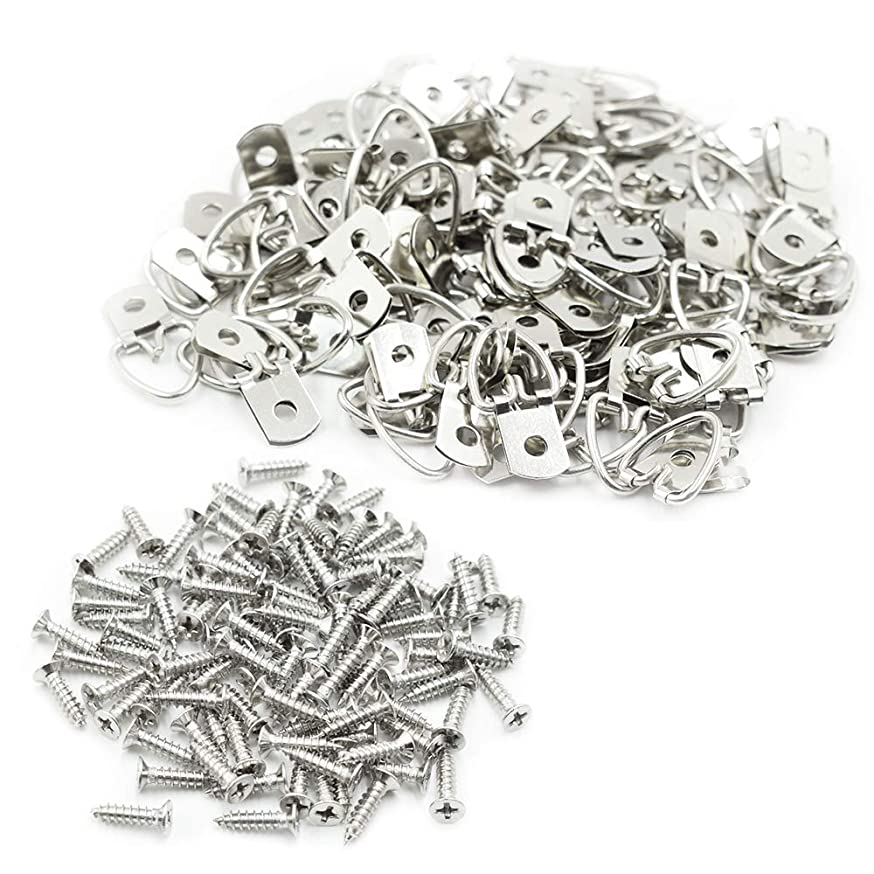 TUOREN D Ring Picture Hangers 100-Pack Heavy Duty with Screws(100 Pcs)