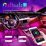 Winzwon Iluminación LED interior para coche, iluminación de reposapiés para coche, iluminación interior LED RGB, iluminación ambiental, tira de luz para el interior del coche, con puerto USB