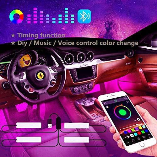 Winzwon LED Innenbeleuchtung Auto, Auto LED Fußraumbeleuchtung, Auto LED Innenraumbeleuchtung RGB Fußraum Ambientebeleuchtung Auto Innenraum Strip Atmosphäre Licht mit USB-Port und Fernbedienung (APP)