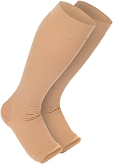 Maternity Compression Stockings: Premium Open Toe Pregnancy Socks With Guaranteed Joint & Muscle Pain Relief. Best Leg, Ankle, And Feet Support Treatment For Swelling, Varicose Veins, & Edema (1-Pair)