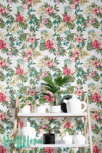 Sans Coutures à la main Draw Tropical Papier peint Motif fleur amovible - Sticker mural Papier peint autocollant - Sticker mural - Jungle, 53 Cm wide by 121 Cm Tall