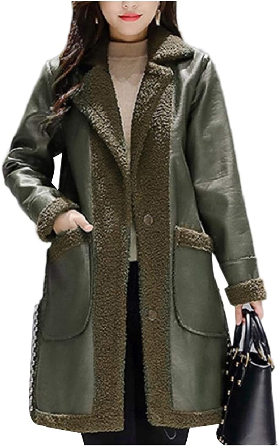 Cobama Womens Reversible Slim Fit Sherpa Relaxed Lapel Pu Leather Jacket