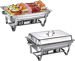 2Pcs 9L Chauffe-Plats Réchauds en Acier Inoxydable Chafing Dish, Buffet Pleine Grandeur avec Bac à Eau, Bac à Nourriture, ...