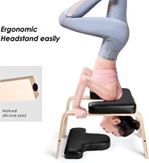 INTEY Yoga Headstand Bench Yoga Wood Chair Inversion Tool for Gym Family Fitness, Relieve, Enjoy Your Yoga Stool(with PU Pad)