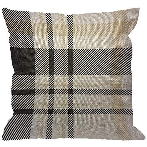 Funda de almohada de cuadros a cuadros, cuadros de cuadros tradicionales en una paleta de fundas de almohada decorativas negras, beige y blancas Fundas de cojín cuadradas de lino de algodón para el so