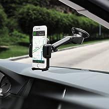 Mpow Support Voiture pour Smartphone, Support Tableau de Bord Pare-Brise Téléphone Rotation 360° Bras Prolongé Angle Télescopique Support Voiture Support Téléphone pour iPhone, Galaxy etc Smartphones