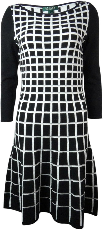 Lauren Ralph Lauren BlackWhite Patterned Sweater Dress L