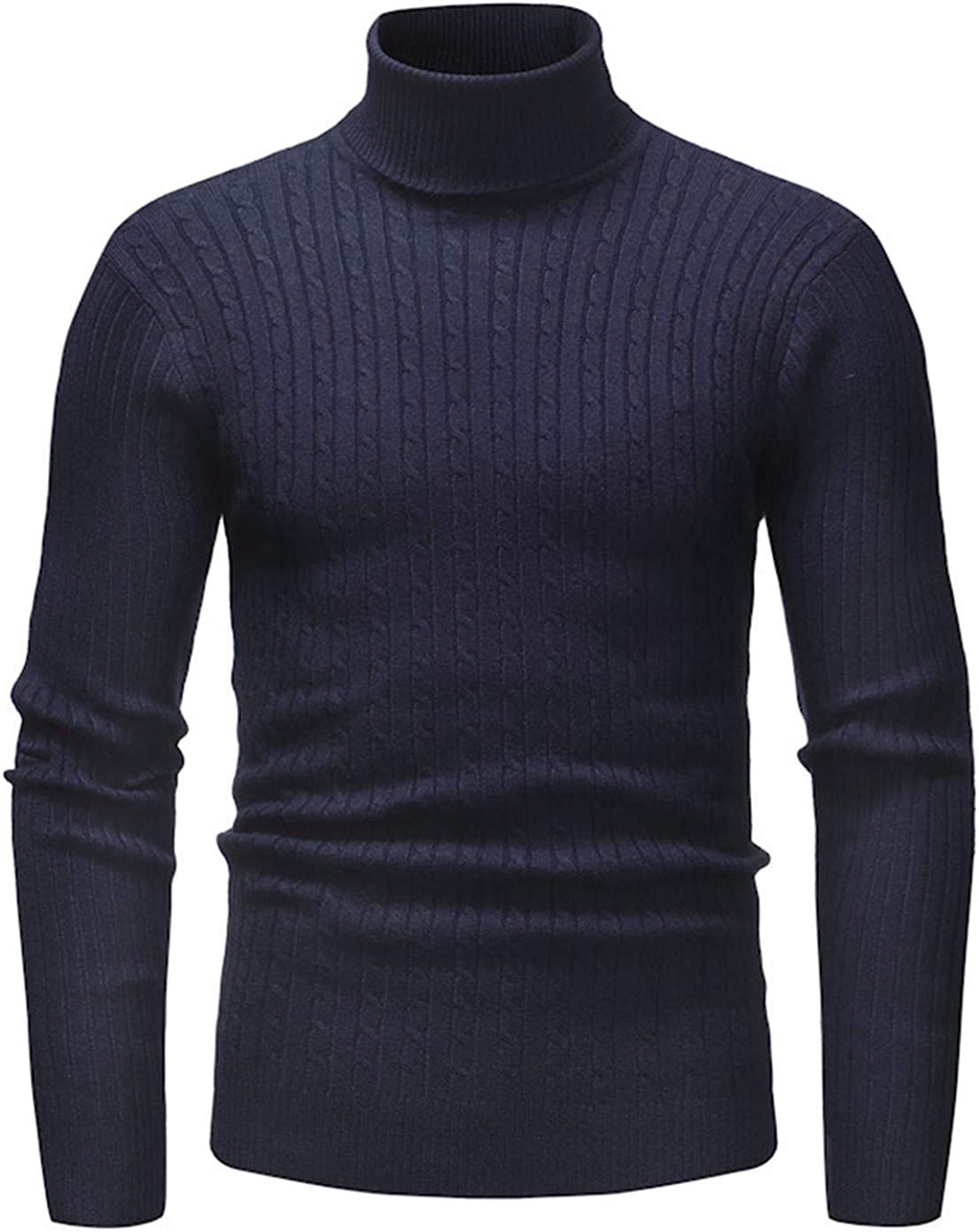Soluo Mens Thermal Mock Turtleneck Long Sleeve T Shirt Knitted Pullover Basic Slim Fit Shirts Sweatshirt (Navy Blue,3X-Large)