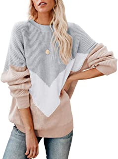 Ferbia Women Chevron Color Block Pullover Sweaters Oversized Batwing Knit Slouchy Baggy Long Sleeve Boyfriend Top
