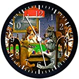 Dogs Playing Poker Silent Non-Ticking 12' Large Wall Clock Glass Nice for Gift or Wall Decor Z40