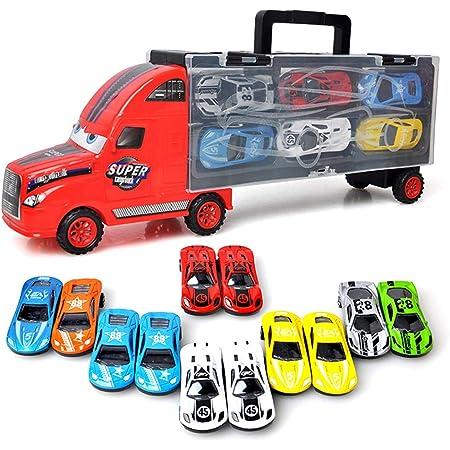 Camión de Transporte Transportador de Automóviles con 12 Coches Maletín portacoches Juguete para Niños y Niñas (rojo)