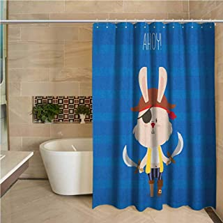 Lohebhuic Ahoy Its a Boy Hotel Quality Polyester Shower Curtain Pretty Pirate Rabbit Bunny with Eye Patch Funny Graphic Cartoon Illustration Shower and Bathtub W55 x L70 Inch Multicolor